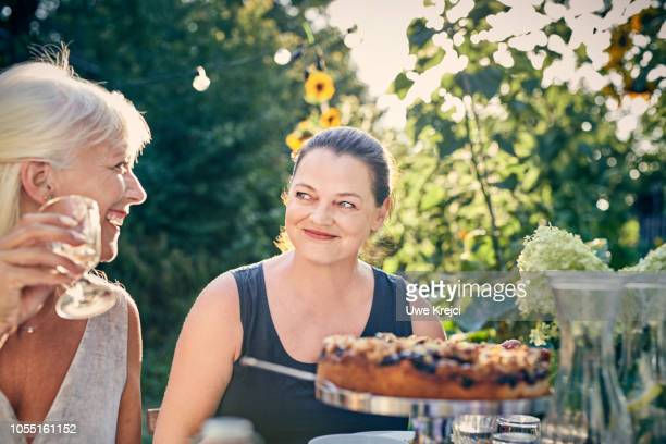 Women at dinner party in garden
