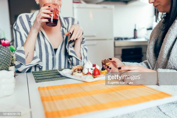 Women at home dining at table