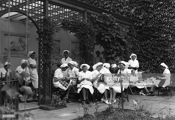 Women at work at the Central Hospital Supply Service.