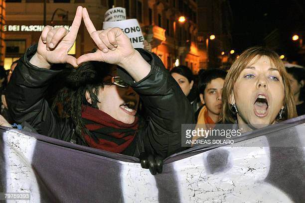 Women attend a demonstration organized by women's groups to protect Italy's abortion law in Rome on February 14 2008 A police probe of a hospital...