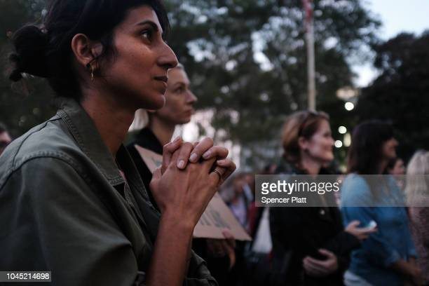 Women attend a rally and vigil in front of a Brooklyn court house calling to stop the nomination of Republican Supreme court candidate Judge Brett...