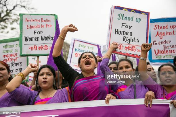 Women attend a Women's Day rally March 8 2020 in Dhaka Bangladesh International Women's Day is observed on March 8 every year celebrating the...