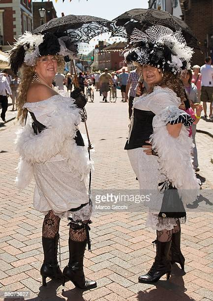 Women attired in traditional costume take part in the 31st Summer Dickens Festival which celebrates Charles Dickens links with Medway on May 29 2009...