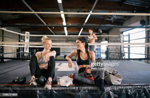 Women bonding after boxing training