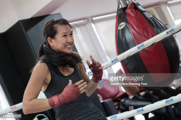 Women boxer Tricia Yap in training for Hedge Fund Fight Night, at JAB - Mixed Martial Arts and Fitness Training Studio in Central. 27SEP11