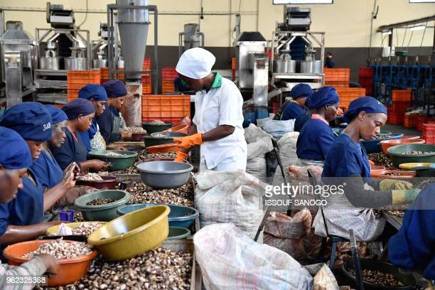 Women break raw cashew nuts at a cashew nuts processing factory in the central Ivorian city of Bouake on May 24, 2018.