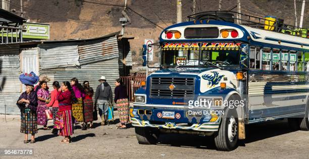 Women bus Zunil village near Xela or Quetzaltenango February 2017 Guatemala