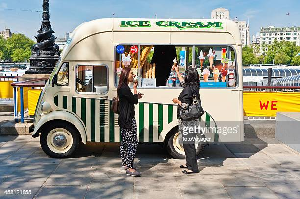 Women buying ice creams from van London