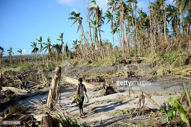 A women carries a bunch of bananas she found on the banks of the Noai river 70 kilometres north of Vanuatu's capital Port Vila on March 21 2015 after...