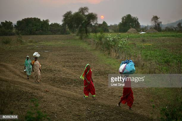 Women carry cotton bundles at the end of the work day on April 2008 in the village of Sunna in the Vidarbha region of Maharashtra state India A wave...