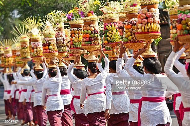 Women carrying Temple offerings, Ubud Bali