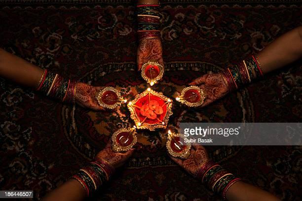 Women celebrating diwali, festival of lights