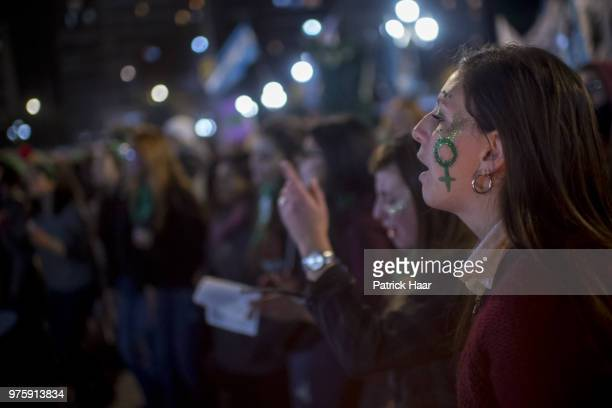 Women chant pro abortion slogans during a rally to demand legal and free abortion at Congressional Plaza on June 13 2018 in Buenos Aires Argentina A...