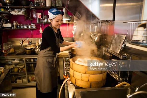 Women chef preparing food
