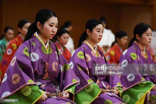 Women clad in kimono attend a coming-of-age ceremony in the Kokugakuin university in Tokyo on January 11, 2020. - Every January, Japanese turning the...