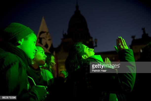 Women clap during a speach of a supporter of legal abortion in front of the National Congress demanding the sanction of the law of legal free and...