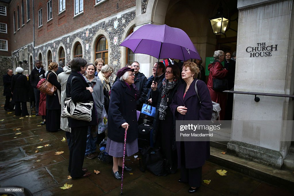 Women clergy and others line up for the public gallery outside Church House on November 20, 2012 in London, England. The Church of England's governing body, known as the General Synod, will later today vote on whether to allow women to become bishops.