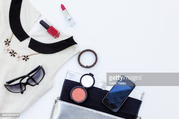 women clothes and accesories. Black and white ad silver
