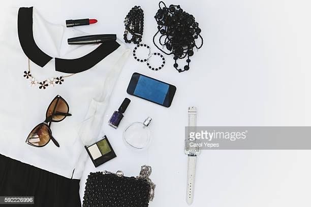 women clothes and accesories. black and white - table top - fotografias e filmes do acervo