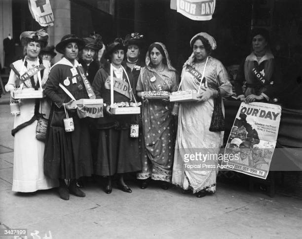 From left to right Mrs Salter Khan Princess Duleep Singh Ms P Roy and Mrs Bhola Nauth collect funds for 'Our Day' which aims to help soldiers at the...
