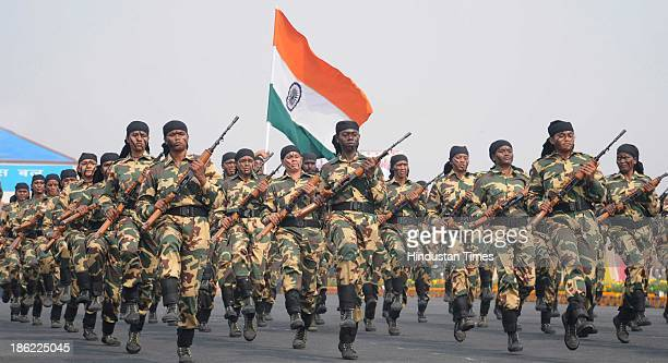 CRPF women commando during the rifle drill on the occasion of the 74th anniversary of CRPF on October 29 2013 at Kadarpur in Gurgaon India Taking...
