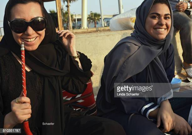 Women commonly smoke shish from Hookah pipes in Saudi Arabia The coastline is often a gathering place for families and young people who enjoy smoking...