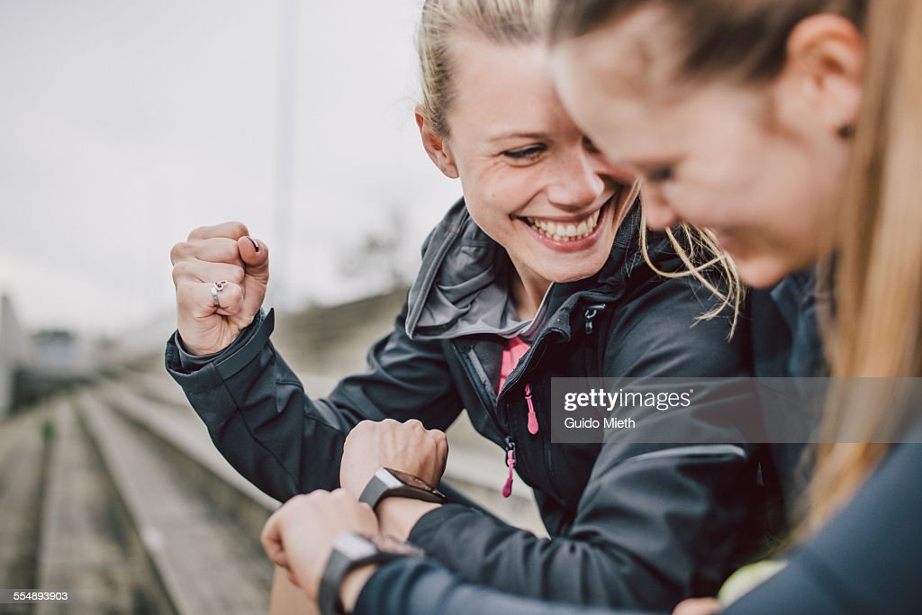 Women comparing data after sport : Stock Photo