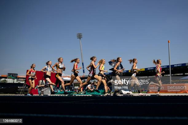 Women compete during 1500m semi final of the German Athletics Championships 2020 at Eintracht Stadion on August 08, 2020 in Braunschweig, Germany.