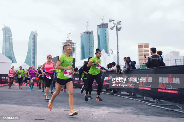 Women compete during IronGirl ahead of IRONMAN 703 Middle East Championship Bahrain on November 24 2017 in Bahrain Bahrain
