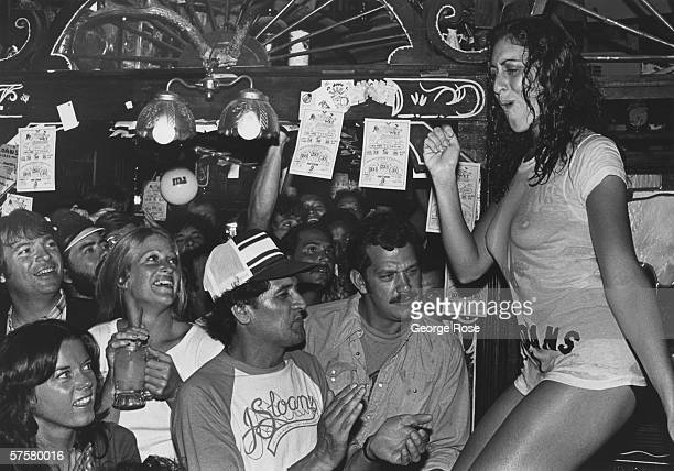 Women compete in a 1979 wet tshirt contest at nightclub J Sloans in West Hollywood California