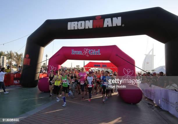 Women compete in the Iron Girl race ahead of Ironman 703 Dubai on February 1 2018 in Dubai United Arab Emirates