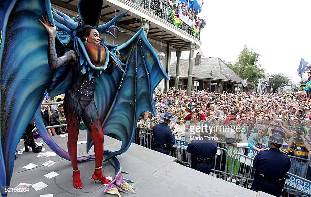 A women competes in Bourbon Street Awards for costume design during Mardi Gras festivities February 8 2005 in New Orleans Louisiana Mardi Gras is the...