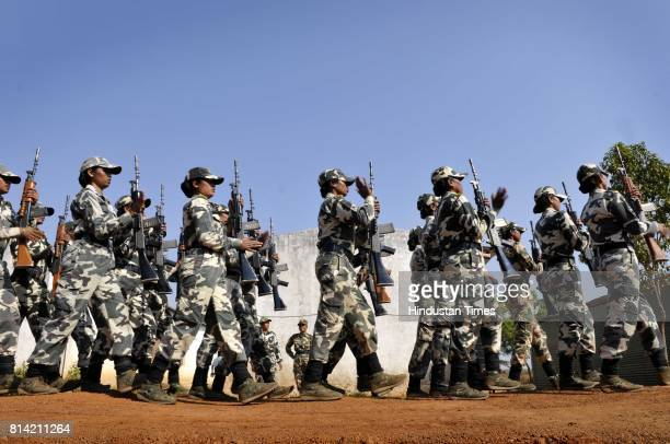 CRPF women constables perform drills at their camp in Mazgaon for the first time CRPF has deployed women platoons in a conflict zone on February 11...