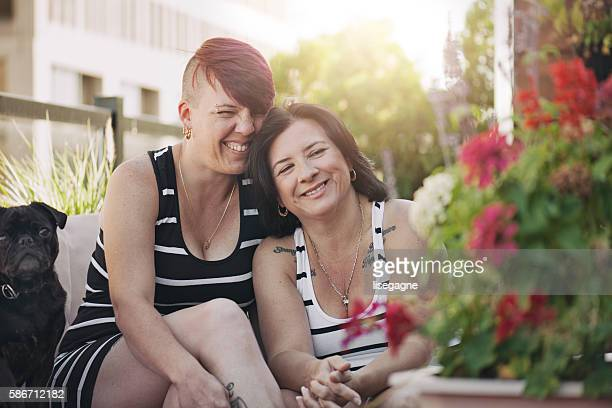 Women couple at home