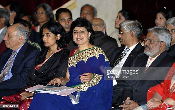 Women cricketer and Padma Shri Award Anjum Chopra during the Padma Awards 2014 at a Civil Investiture Ceremony at Rashtrapati Bhavan on April 26 2014...