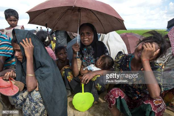 Women cry and pray as thousands of Rohingya refugees flee from Myanmar cross a stream in the hot sun on a muddy rice field near Palang Khali Cox's...