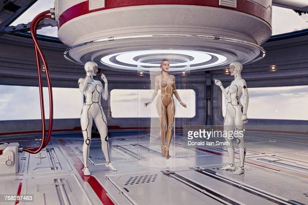 Women cyborgs using transporter