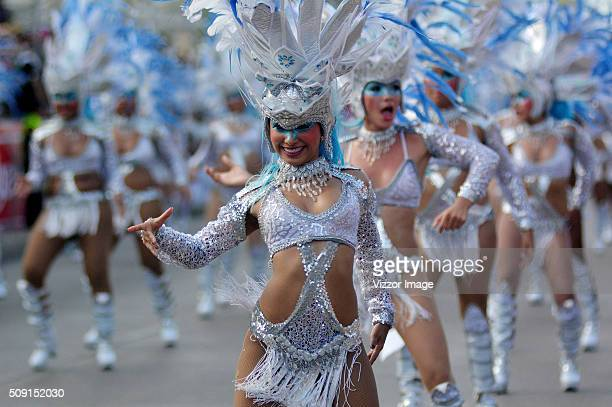 Women dance during La Gran Parada de Fantasía as part of Carnaval de Barranquilla 2016 on February 08 2016 in Barranquilla Colombia