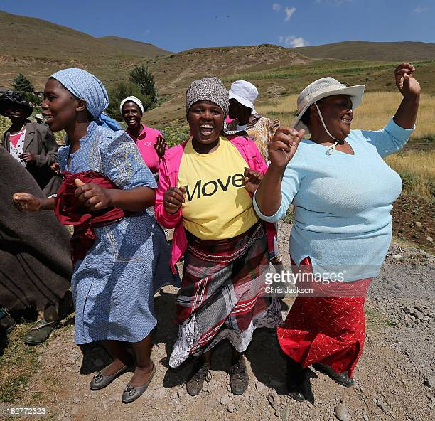 Women dance in celebration at a herd boy school refurbished by Sentebale during a visit by Sentebale staff on February 26 2013 in Mokhotlong Lesotho...
