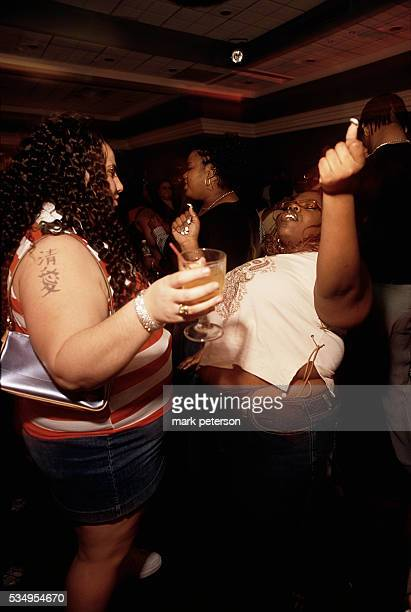 Women dancing at Goddesses Party a party for big beautiful men and women and their admirers in NYC NY