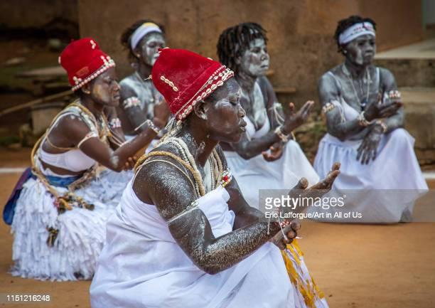 Women dancing during a ceremony in Adjoua Messouma Komians initiation centre, Moyen-Comoé, Aniassue, Ivory Coast on May 9, 2019 in Aniassue, Ivory...