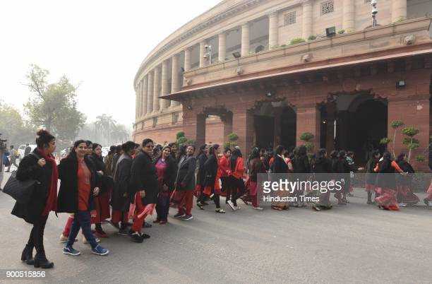 A women delegation from Uttar Pardesh visit the Parliament House during the Parliament Winter Session on January 2 2018 in New Delhi India The...