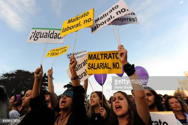 Women demand equal working rights and an end to violence against women in Spanish society during a march to celebrate International Women's Day on...