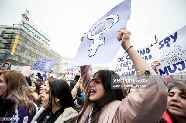 Women demand equal working rights and an end to violence against women in Spanish society at Puerta del Sol during International Women's Day on March...