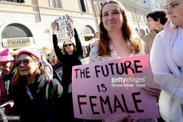 Women demonstrate against violence and against Trump in solidarity with American women during the Women's March along with the #MeToo movement on...
