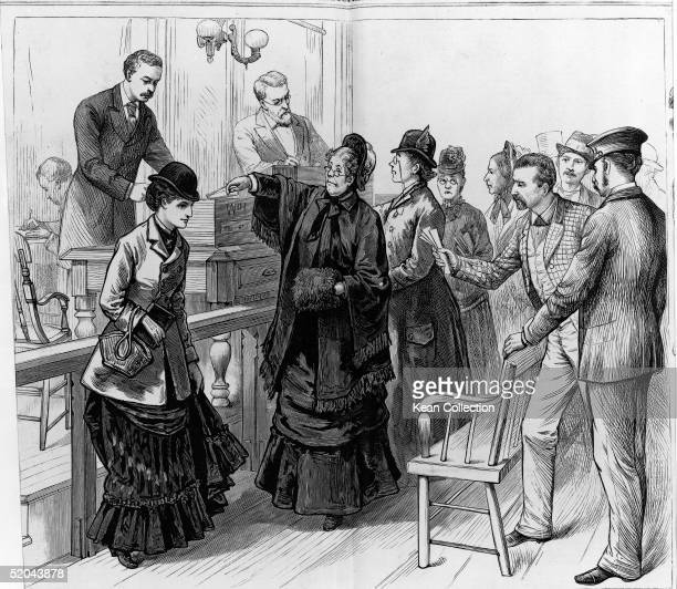 Women deposit their ballots for a local election at Police Court Cambridge Massachusetts December 20 1879 Prior to the 19th Amendment some cities...