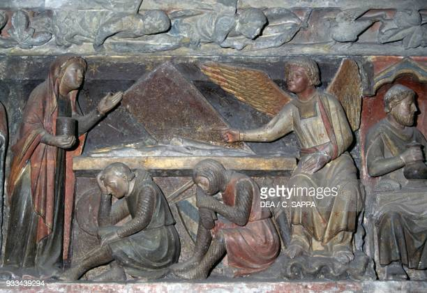 Women discovering Jesus' empty tomb relief in the church choir 13th century Le Prieure Le Bourget du Lac AuvergneRhoneAlpes France 11th19th century