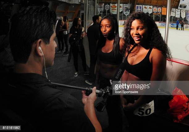 Women doing interviews before the first round of results and cuts to see who qualifies to become a 20172018 Anaheim Ducks Power Player on July 15...