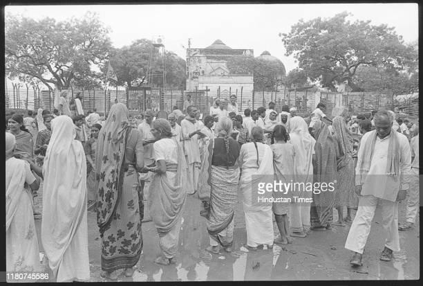 Women doing karsewa for foundation filling work at Ram Katha Kunj Nritya Griha and Simhadwar in Ayodhya