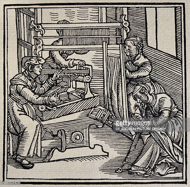 Women doing needlepoint and weaving on looms engraving from The Burato book of embroidery by Alex Paganino Venice 15271538